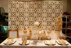 golden dessert table
