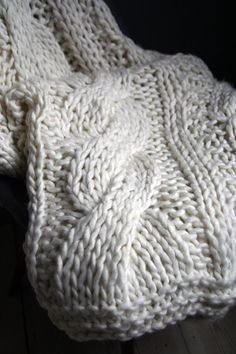 Seriously Chunky, Hand Knitted Throw Blanket