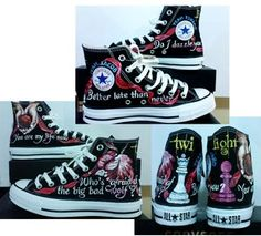 TWILIGHT!!! I am not a fan of Converse...but I would totally wear these shoes...just because they're Twilight!!