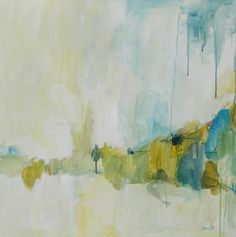 original abstract painting large blue green and gold. , via Etsy.