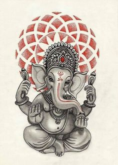 Geometric Ganesha Tattoo Design Idea                                                                                                                                                                                 Más
