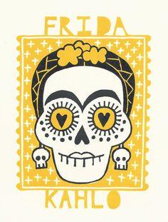 Frida Kahlo - Día de Muertos - linocut print