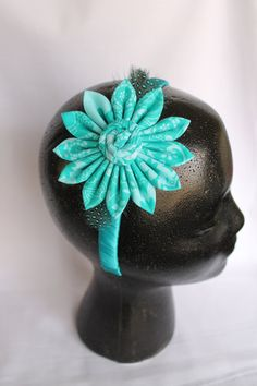 Fabric bow feathered headband by FancyFashions11 on Etsy, $10.00