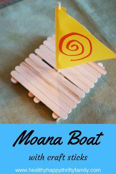Disney Moana Boat Craft - ship made with craft sticks - Disney Moana Crafts