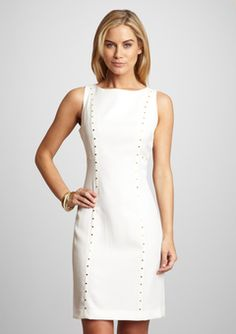 SHARAGANO - Ivory Boat Neck Sleeveless Dress