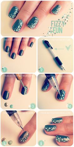 Cute nail dotting - DIY nail art designs. Using a dotting tool and a pen!!