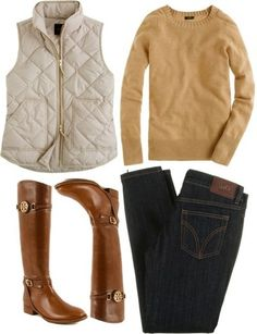 cozy fall ensemble: camel sweater, ivory puffer vest, dark denim, and riding boots