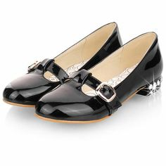 7fedb7dea8d Rhinestone And Belt Buckle Embellished Black Patent Leather Flats