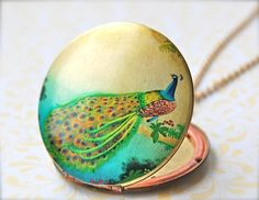 The Peacock on a Branch Art Locket  Vintage by verabel on Etsy, $40.00