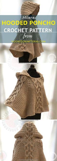 HOODED PONCHO PATTERN - A beautiful crochet poncho. This is my crocheted cable poncho pattern. I hope you like the poncho crochet pattern.