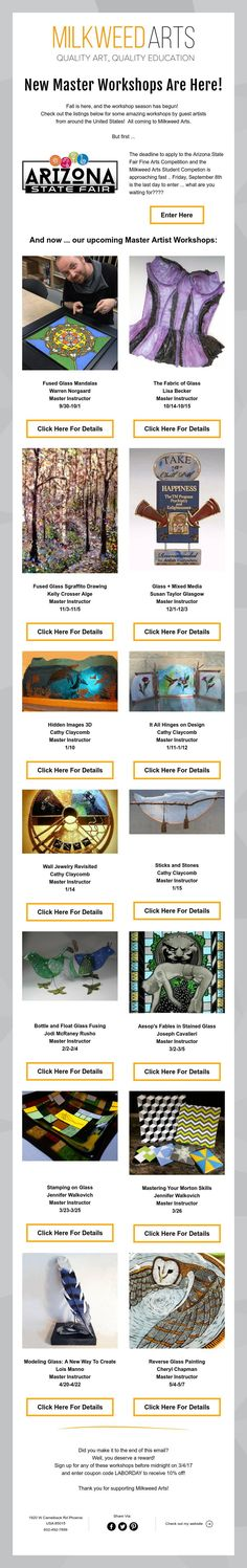 Fall is here, and the workshop season has begun! All coming to Milkweed Arts. Fall Is Here, Workshop, Glass, Artist, Atelier, Drinkware, Corning Glass, Artists, Barware