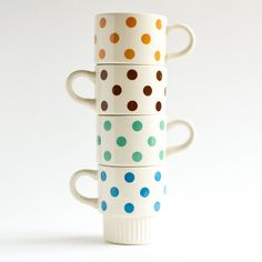 Polka Dot Mugs, set of 4 - Antiquaria