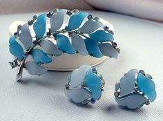 Vintage Blue Lucite Lisner Earrings and Brooch by thejewelseeker, $56.00 #vjse2 #vintage #brides #jewelry #boebot #bestofetsy
