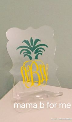 Cell phone charger stand - ❤ Designed using a pineapple monogram in vinyl and stand is acrylic