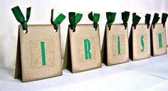 St Patricks Day table decor, maybe print mini map of Ireland to place on bags instead of word. Can use brown lunch bags and glue map on it.