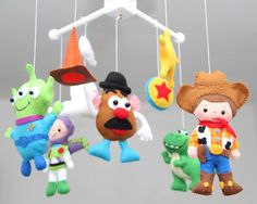 Baby Crib Mobile - Toy Story - Nursery Toy Story Mobile - Woody,Potato Head,Buzz Lightyear,T-Rex, Inspired toy story movie by LesPetitesshop on Etsy https://www.etsy.com/listing/280038294/baby-crib-mobile-toy-story-nursery-toy