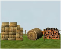 Chimerical_Stack of hay, hay bale, scarecrow, and wood pile meshes converted by nengi65 from Sims 3.