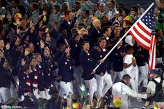 08.05.16 Olympic medal record-holder, swimmer Michael Phelps, leads Team USA into the stadium during Opening Ceremonies #Rio2016
