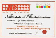 Corso formativo di Pavimento Acidificato, pittura Oxydecor e microcemento Microverlay presso Isoplam Maser (TV) il 12-13 febbraio 2015