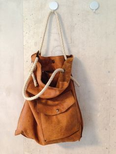 KP#1362 large soft tote; honey coloured with rope handles; zipper pocket inside and clip pocket on the outside