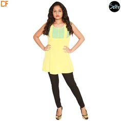 Mellow Yellow and blue kurti in cotton material. Opt for cotton as it is a natural product and has many advantages, such as, it's ability to control moisture, insulate, weatherproof and a durable fabric. The kurti has a round neckline, sleeveless, piping at around the neckline and hems, button and tab detail on the overlay. http://www.droomfashion.com/shop/brands-kurtis/mellow-yellow-and-blue-kurti/