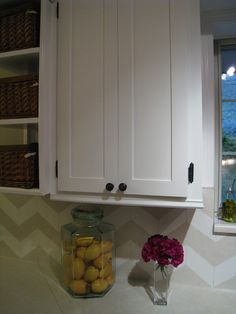 easypeasy grandma: cabinet door redo - she filled in the routed arches in her outdated doors and added thin poplar molding. so inspiring!