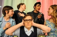 """Amarillo Little Theatre Academy cast members Caleb Cordes, center, Colton Richards, from left, Kallie Ratliff, Evan Domme, and Bailey Allen rehearse scenes from """"Bye Bye Birdie."""""""