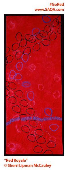 Art quilt by Sherri Lipman McCauley #artquilts #SAQA #GoRedForWomen