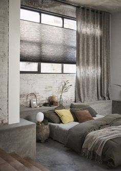 Curtains With Blinds, Home Decor Inspiration, Condo Living, Apartment Architecture, Curtains Living Room, Home, Bedroom Interior, Apartment Decor, Dream Rooms