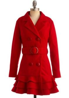Red coat.  Love the belt and ruffles!