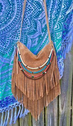 Handmade Sahara Camel Tan Leather Fringe Bag Hobo Boho Hippie Simple Purse B.Joy   eBay