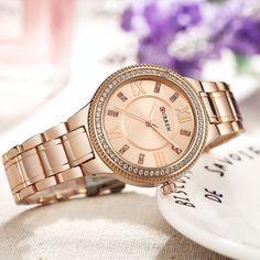 2018 Women's Fashion Watches Curren Luxury Gold Stainless Steel Quartz Watch Ladies Dress Jewelry For Women Gifts Wristwatches Diamond Quartz, Rhinestone Dress, Crystal Design, Casual Watches, Elegant Watches, Fashion Watches, Women's Fashion, Quartz Watch, Lady