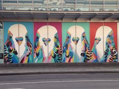 Big Budgies by WA artist Anya Brock - Perth CBD. Giant Art.
