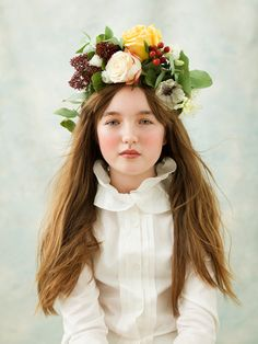 Floral garland. Flower crown. Handmade headdress by fifilabelle, London.  Photo by Julia Boggio. www.fifilabelle.com