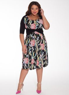 Janus Dress in Hot Floral-not sure about this print, but I really like the paneling