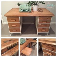Antique Oak Desk Hand Painted In White Chalk Emulsion From Porters Paint By The Shabby