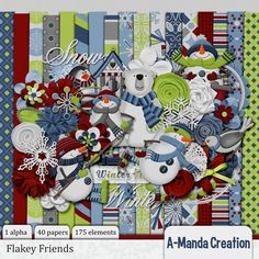 Flakey Friends is adorable winter themed digital scrapbook kit
