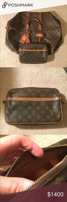 Louis Vuitton Set 55 Keepall and 23 Toiletry Bag Very nice set, Duffle is from 1982 and small bag is from 80s as well. Both in great condition minor staining on vachetta as shown but monogram print in great condition! Don't expect it to be perfect! But they are very very great for the age! Musty smell in Duffle and very faint smell in small bag. Both are great though! Louis Vuitton Bags