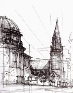 Architectural Drawings of Historic Buildings mostly based in and around Poznan, in Poland. #drawing work by Łukasz Gać. More information and more images from this Artist => http://bit.ly/1AlRyL0