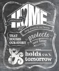 Home - A Special Place - Chalkboard Look 20 x 24 Print - Shipping Included. $65.00, via Etsy.