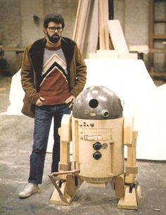 George Lucas with a prototype R2D2 - Star Wars