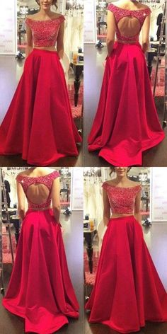 Cheap Nice Prom Dresses A-Line Two Piece Prom Dress/Evening Dress - Red Off-the-Shoulder A-Line Beading Cheap Prom Dresses, Red Prom Dresses, Two Pieces Prom Dresses, A-Line Evening Dresses, Prom Dresses Prom Dresses 2019 Two Piece Evening Dresses, Open Back Prom Dresses, Dresses Short, Prom Dresses 2018, A Line Prom Dresses, Prom Party Dresses, Trendy Dresses, Dress Prom, Dress Long