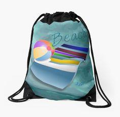 #BeachFun #GreenAbstract #DrawstringBag by #MoonDreamsMusic