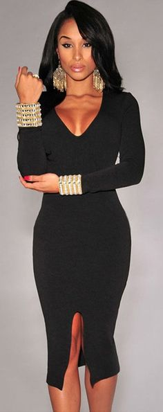 Amazon.com: Sexy Deep V Neck Plunge Bodycon Dress With Split Slit Front: Clothing