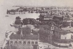 This view shows the Cornwell Store after a 20 ft. addition with front and side show windows was added in The Marsden also had undergone extensive renovation and expansion. Alexandria Bay, Victorian Photos, Thousand Islands, The Expanse, Paris Skyline, Windows, River, Store, Vintage