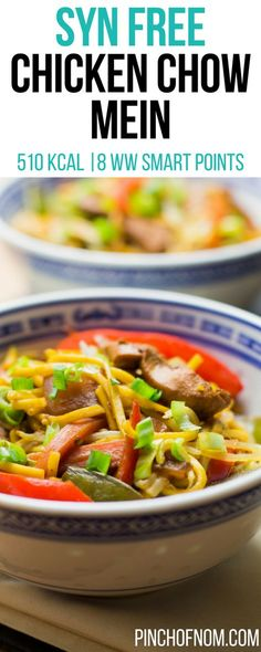Free Chicken Chow Mein Pinch Of Nom Slimming World Recipes 510 kcal Syn Free 8 Weight Watchers Smart Points Slimming World Dinners, Slimming World Recipes Syn Free, Slimming World Diet, Slimming Eats, Slimming Word, Slow Cooker Recipes, Cooking Recipes, Healthy Recipes, Healthy Foods