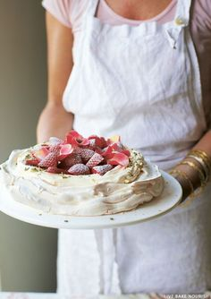 Rose Water and Pistachio Pavlova | from Love Bake Nourish by Amber Rose