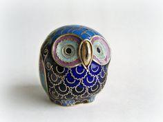 Vintage Brass Owl Figurine Chinese Folk art Barn by papercherries