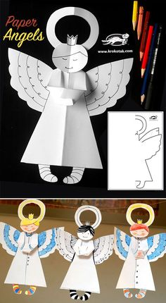Paper Angels Christmas craft for kids                                                                                                                                                                                 Mais