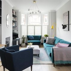 Home interior Design Minimalist Small Spaces - - Home interior Paint Ideas 2019 - - - Victorian Home interior Butler Pantry Narrow Living Room, Living Room Grey, Living Room Sofa, Home Living Room, Long Narrow Rooms, Bright Living Room Decor, Rectangle Living Rooms, Blue Feature Wall Living Room, Farrow And Ball Living Room